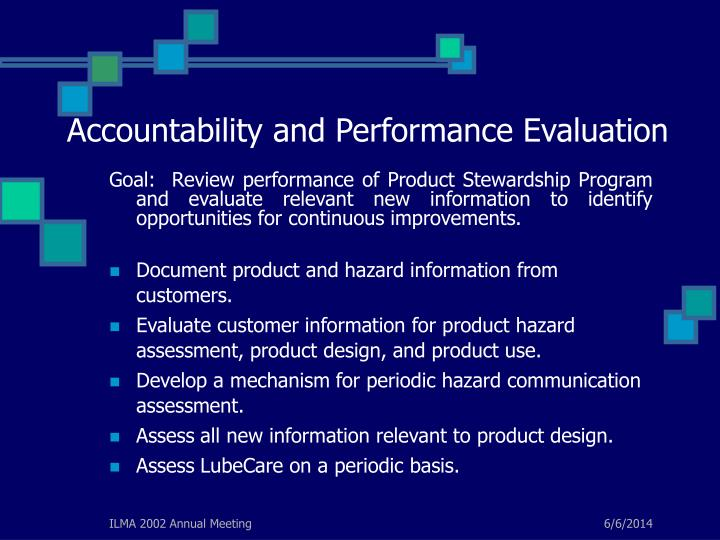 Accountability and Performance Evaluation