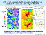 ste event associated with simulated and observed surface o 3 enhancements may 28 29 2010