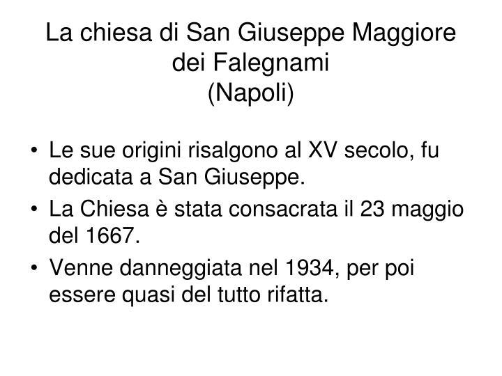 La chiesa di San Giuseppe Maggiore dei Falegnami