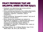 policy provisions that are unlawful under section 8 a 1