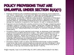 policy provisions that are unlawful under section 8 a 11
