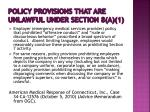 policy provisions that are unlawful under section 8 a 12