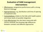 evaluation of sam management interventions