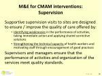 m e for cmam interventions supervision
