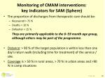 monitoring of cmam interventions key indicators for sam sphere