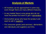 analysis of markets