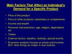 main factors that affect an individual s demand for a specific product