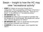 swain insight to how the hc may view recreational activity