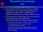 reputational and legal risk