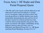 focus area 1 hf radar and data portal proposal quote