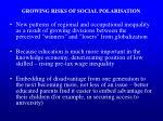 growing risks of social polarisation