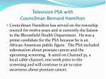 television psa with councilman bernard hamilton