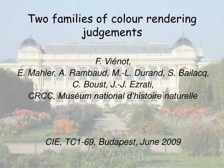 two families of colour rendering judgements n.