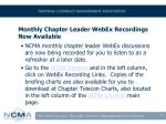 monthly chapter leader webex recordings now available