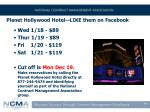 planet hollywood hotel like them on facebook