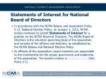 statements of interest for national board of directors