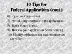 10 tips for federal applications cont