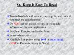 8 keep it easy to read