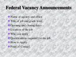 federal vacancy announcements
