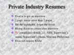 private industry resumes