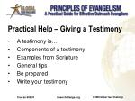 practical help giving a testimony