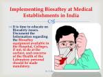 implementing biosaftey at medical establishments in india