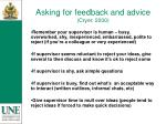 asking for feedback and advice cryer 2000