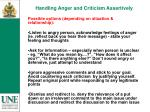 handling anger and criticism assertively