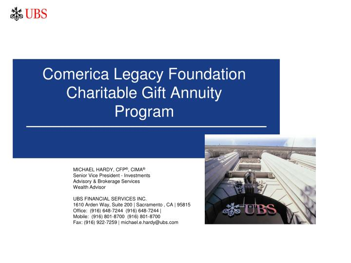 comerica legacy foundation charitable gift annuity program n.