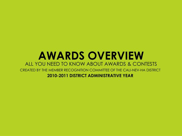awards overview n.