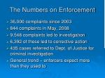 the numbers on enforcement