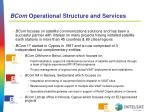 bcom operational structure and services