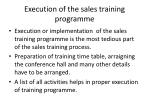 execution of the sales training programme