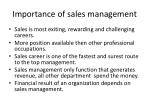 importance of sales management
