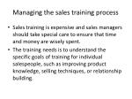 managing the sales training process