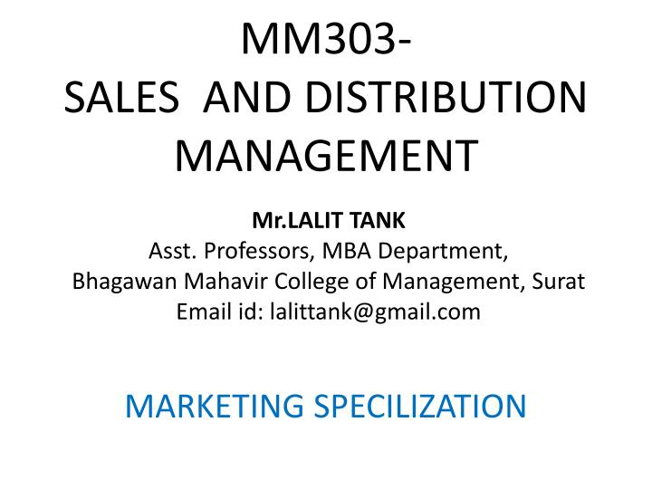 mm303 sales and distribution management n.