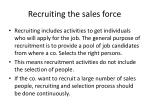 recruiting the sales force