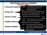 2010 budget summary highlights fiscal stewardship