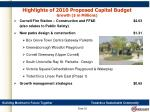 highlights of 2010 proposed capital budget growth in millions