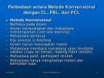 perbedaan antara metode konvensional dengan cl pbl dan pcl
