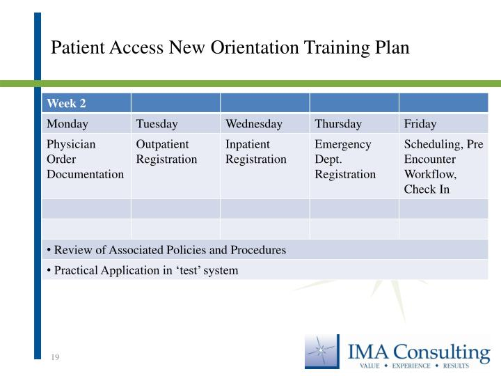 Patient Access New Orientation Training Plan