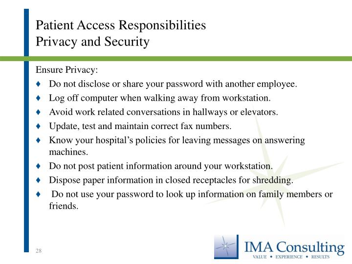 Patient Access Responsibilities
