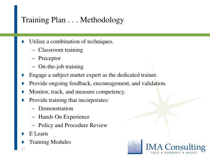 Training Plan . . . Methodology
