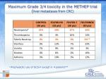 maximum grade 3 4 toxicity in the methep trial liver metastases from crc