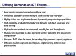 differing demands on ict testers
