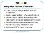 daily operations checklist