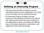 defining an internship program