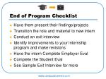 end of program checklist