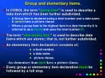 group and elementary items