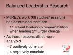 balanced leadership research